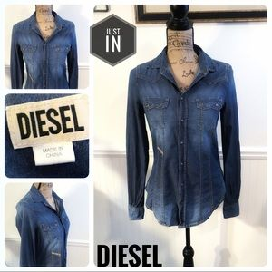 Diesel Chambray Button Up Top Size XS